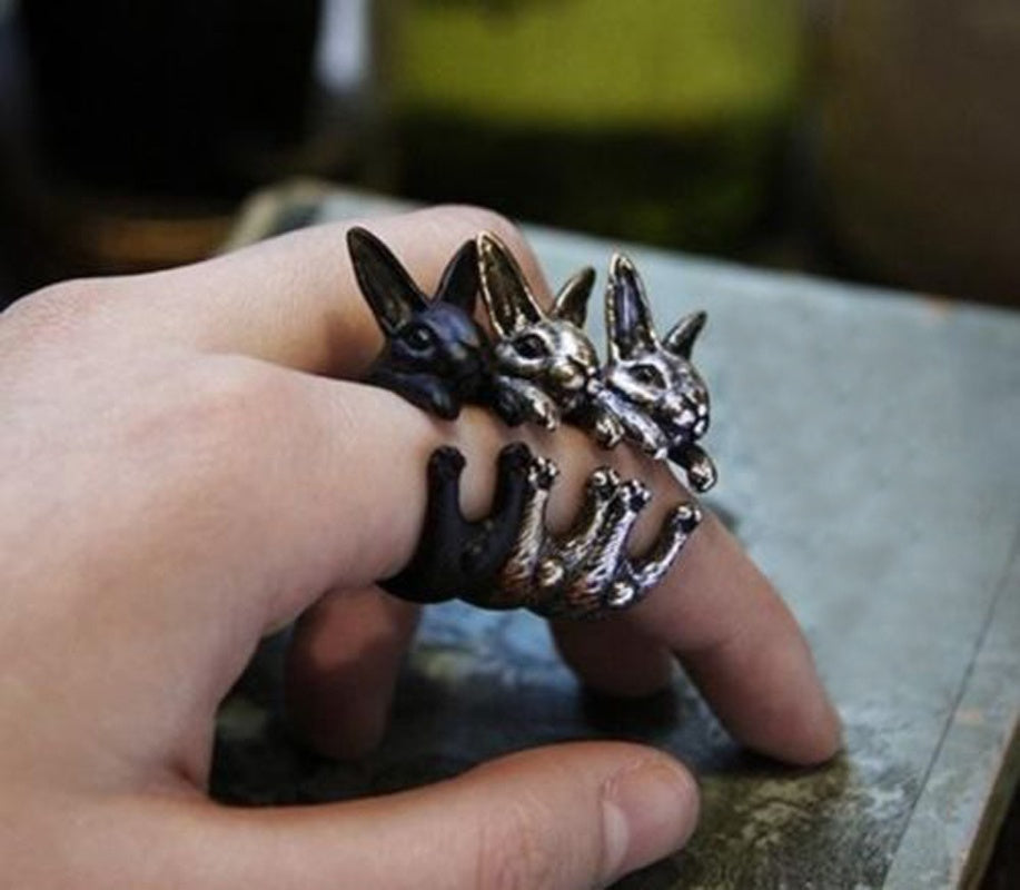 Creative  Wrap Ring Rock Brass Rabbit Bunny Rings For Men Women Fine Jewelry
