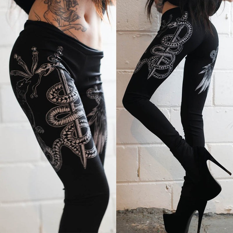 Punk Style Women's Fashion Sexy Printed Workout Leggings Tights Yoga Fitness Pants Gym Leggings Punk Pants