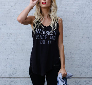 Fashion Loose Sleeveless Shirt Letter Print Tank Top Women Camisole T-Shirts