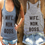 WIFE. MOM .BOSS.letter Print Tank Top Women Loose Pregnant Top Summer Fashion Casual Maternity T-shirt Plus Size