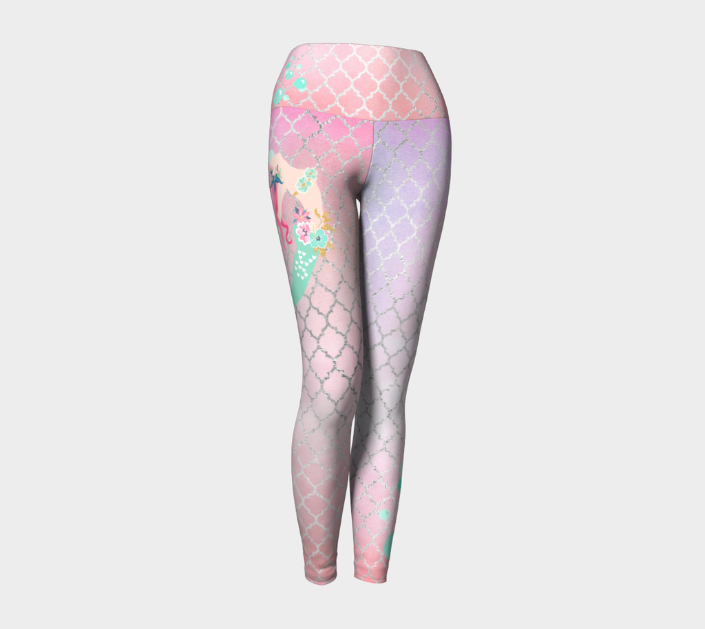 Mermaid Magic Rainbow Pink Yoga Leggings