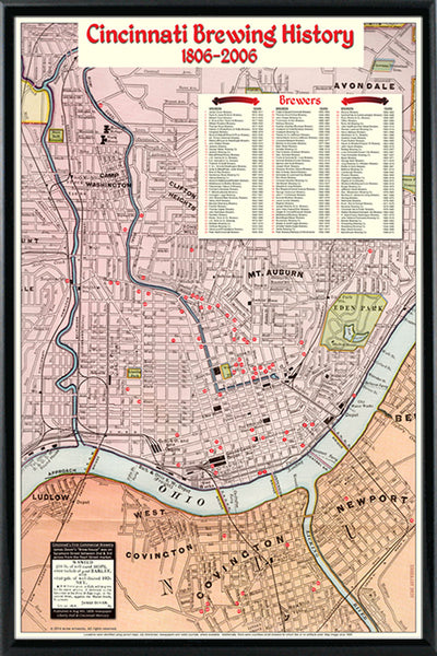Cincinnati Brewing History Map (1806-2006) Art Poster - 2 Sizes - framed - Acme Artworks