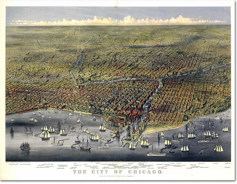 "Large Tapestry - The City of Chicago Birds-eye View 1874 - 70""x90"" - Acme Artworks"