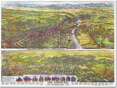 "Large Tapestry - 1894 Los Angeles, California birds-eye view lithograph - 70""x90"" - Acme Artworks"