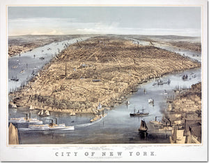 "Large Tapestry - 1856 Birds-eye View of New York City with Battery Park and Brooklyn Heights - 70""x90"" - Acme Artworks"