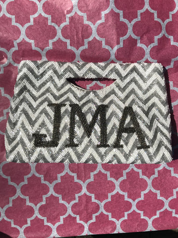Chevron Beaded Monogram Tote