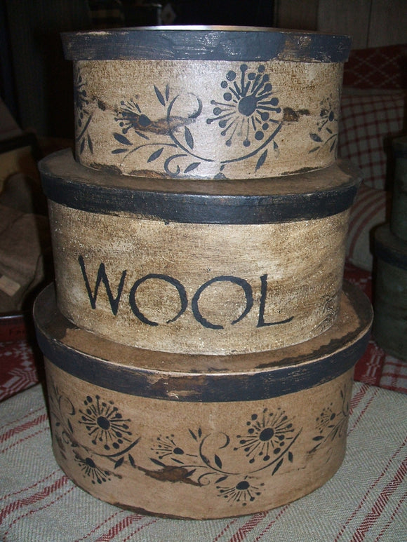 Stack of Stenciled Boxes - Wool