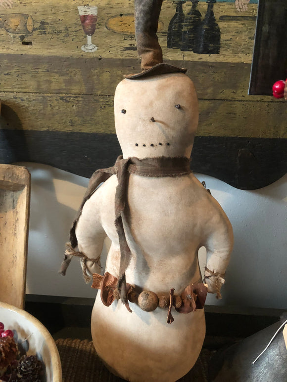 Primitive Snowman with Garland