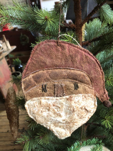 Primitive Santa Ornament