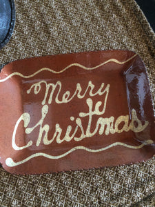 Redware Merry Christmas Plate