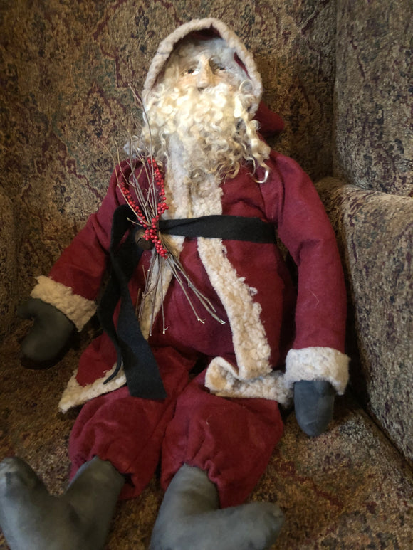 Primitive Red Santa