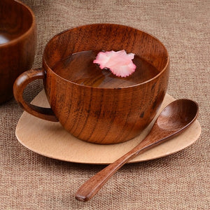 Wooden Coffee Mug and Spoon Set