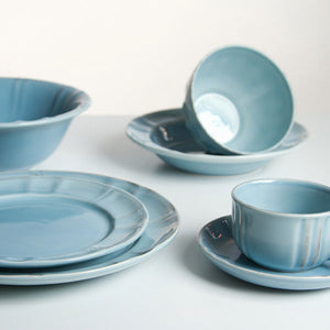 Set of Mugs with Saucers China crockery Blue (6 pcs) - Kitchen's Deco Collection