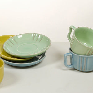 Set of Mugs with Saucers China crockery green (6 pcs) - Kitchen's Deco Collection