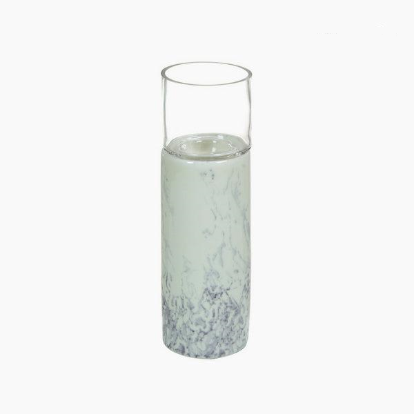 Large white marble effect ceramic candle holder 10.3 x 10.3 x 42 cm