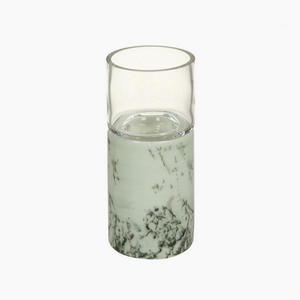 Modern and stylish white marble effect ceramic candle holder 10.3 x 10.3 x 23.5 cm