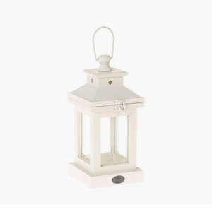 Moroccan style storm lantern in white wood 12 x 12 x 26