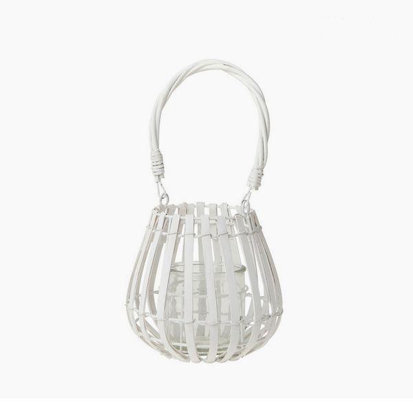 A modern lantern style basket candle holder 18 x 18.5 cm