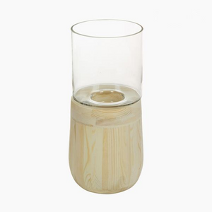 Modern and stylish glass and wood candle holder 15 x 15 x 35 cm