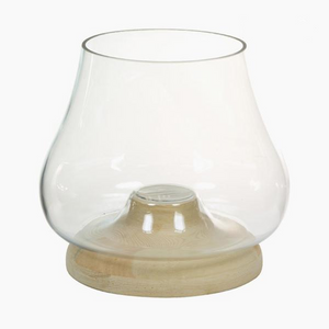 Modern & stylish glass candle holder with wood base 22 x 22 x 26 cm