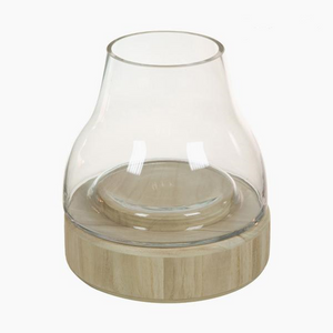 Crystal glass and wood candle holder 23 x 23 x 25 cm
