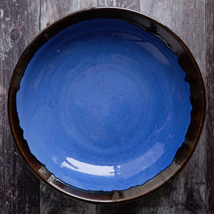 Large Shallow Fruit Bowl 29cm - Rustic Blue