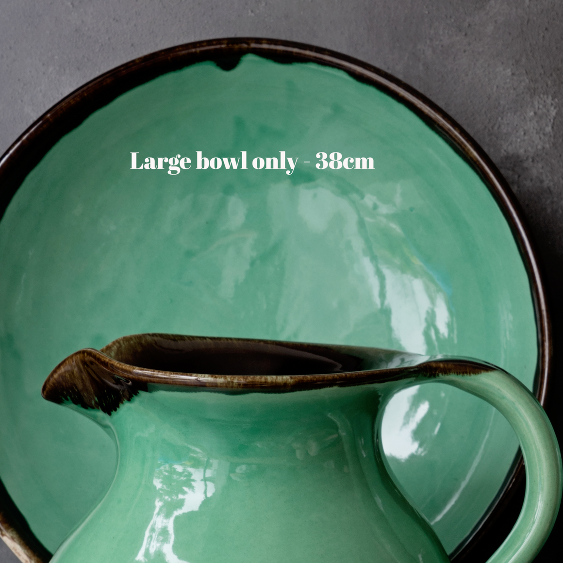 Large Fruit/Serving bowl 38cm - Rustic Green