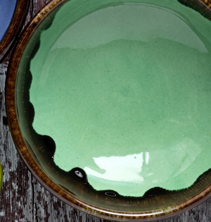 Large Shallow Fruit Bowl 29cm - Rustic Green