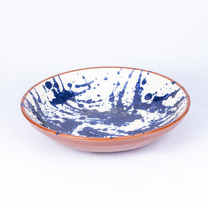Large 38cm Serving Bowl Blue Splatter