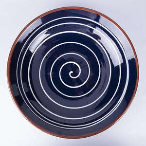 Large Fruit/Serving Bowl 38cm - Spiral Blue
