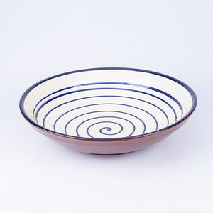 Large Fruit/Serving bowl 38cm - Spiral White