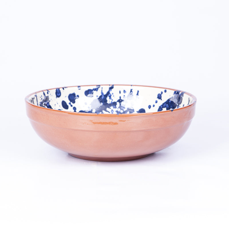 Large Thick Edged Fruit/Serving Bowl 29cm - Blue Splatter