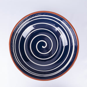 Large Thick Edged Fruit/Serving Bowl 29cm - Spiral Blue
