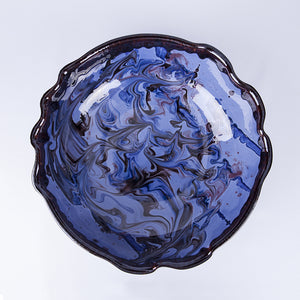 Large Wavy Thick Edged Fruit/Serving Bowl 29cm - Waters in Blue