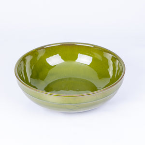 Large Thick Edged Fruit/Serving Bowl 29cm - Green Terracotta