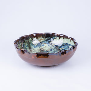 Large Wavy Thick Edged Fruit/Serving Bowl 29cm - Waters in Green