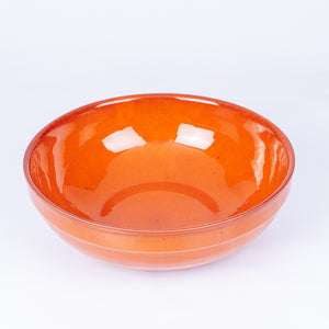 Large Thick Edged Fruit/Serving Bowl 29cm - Orange Terracotta