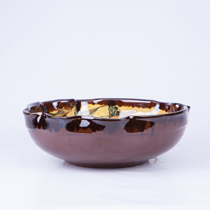 Large Wavy Thick Edged Fruit/Serving Bowl 29cm - Waters in Yellow