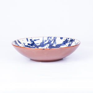 Large Shallow Fruit Bowl 29cm - Blue Splatter