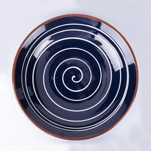 Large Shallow Fruit Bowl 29cm - Spiral Blue