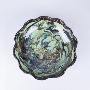 Large Wavey Shallow Edged Fruit/Serving Bowl 29cm - Waters in Green