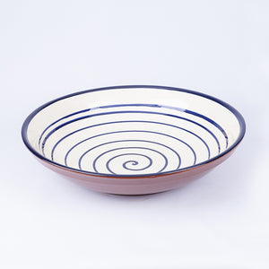 Large Shallow Fruit Bowl 29cm - Spiral White