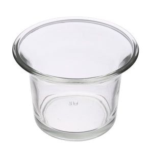Small clear glass tealight candle holder.