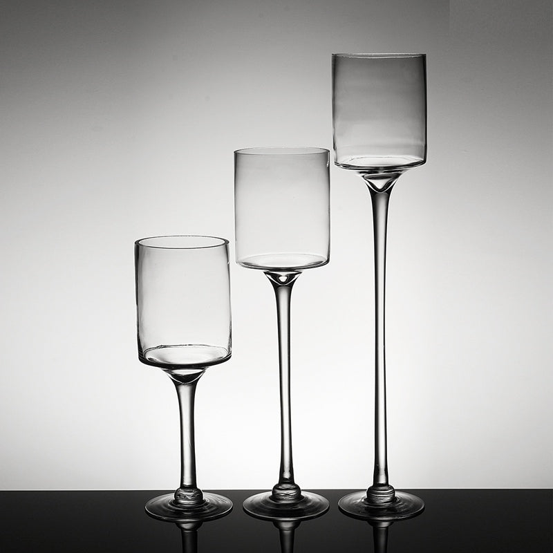 Modern Classic Designer Glass Tealight Candle Holders in 20cm, 40cm and 50cm variants.