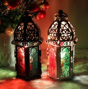 Small Moroccan Windproof Iron and Colored Glass Lantern 8.3 x 7.2 x 16.5 cm