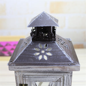 Moroccan Style Wood and Metal Storm Lantern
