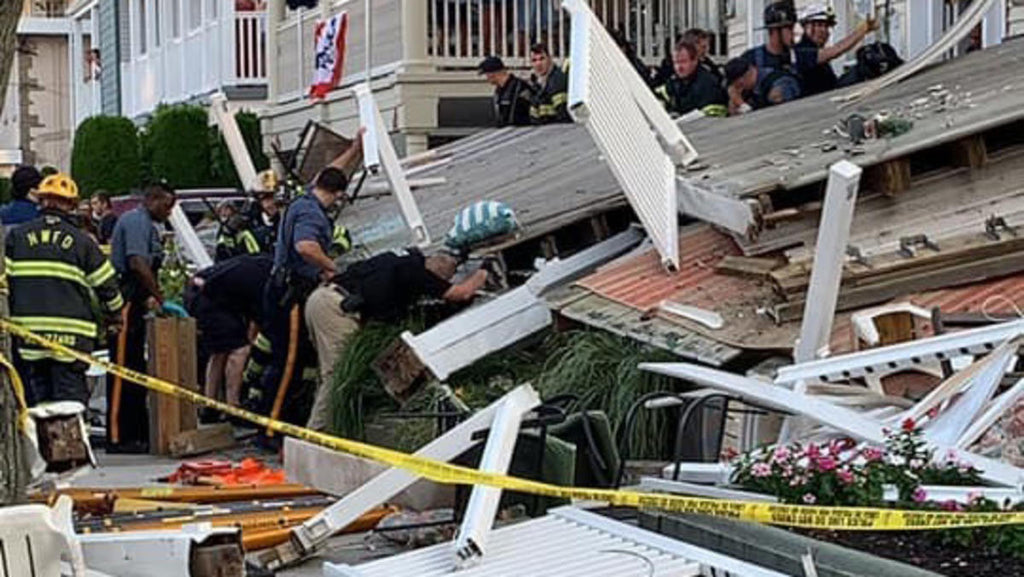 (WATCH) Firefighter Weekend Deck Collapse Injures 22 In Wildwood New Jersey
