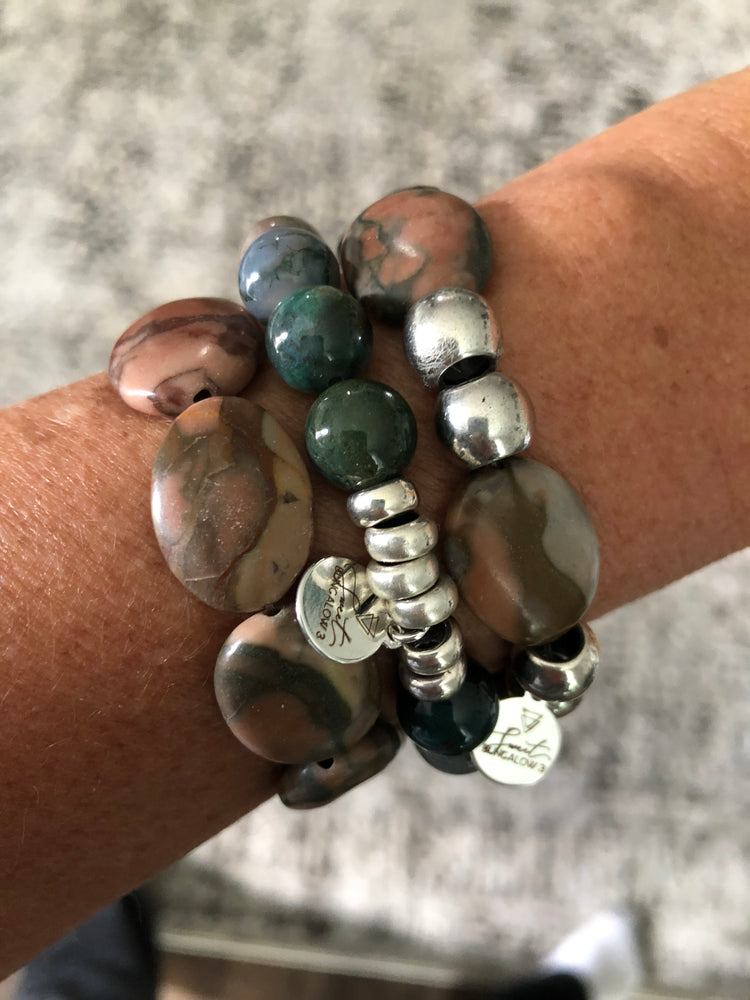 JUNGLE JASPER BEADED STRETCH BRACELET