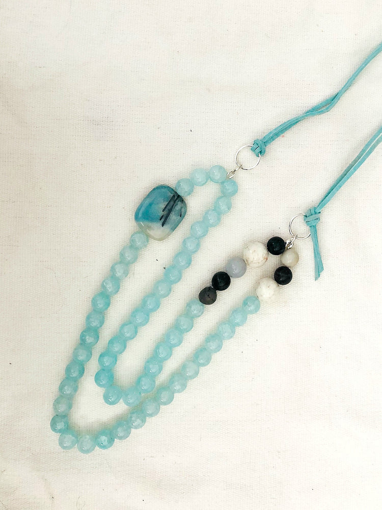 AQUA SUEDE AND BEADED NECKLACE