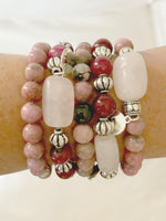 PINK AND SILVER BEADED STRETCH BRACELET WITH ROSE QUARTZ ACCENT